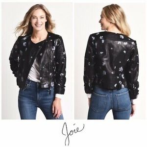 NWT Size L Joie Thisbe Floral Leather Black Jacket